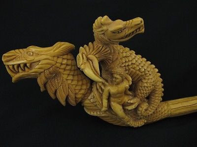 Dragon Family, 2 Headed Eagle, A Child Meerschaum Pipe Collectible Massive 0501