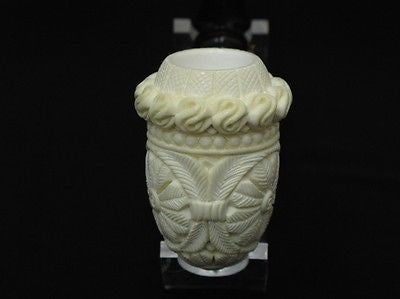 Bent Floral Calabash Block Meerschaum Pipe Gift Case Hand Carved Big Bowl 0726