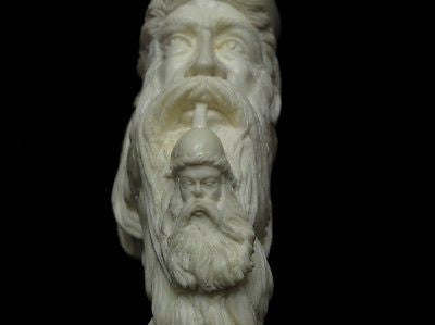 Old Fez Man Smoking Meerschaum Pipe 925 Sterling Silver Free hand Big Bowl 6547