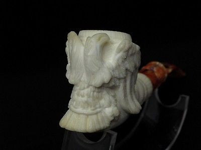 2 Headed Eagle Emblem Meerschaum Pipe Sea foam stone free hand pipes case 3962