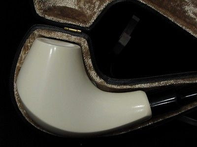 Classic Plain Smooth Block Meerschaum Pipe Acrylic mouth piece Free hand 2325