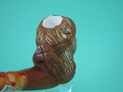 Native Chief Meerschaum Pipe Vintage looks by Cor Brown Patina Hand carved 4639