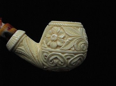 Floral Apple Danske Block Meerschaum Pipe Turkish pipes antique look Sitter 8420