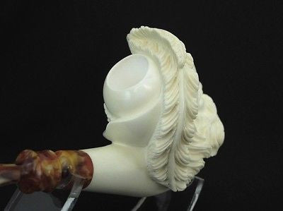 Chevalier Feathered Hat Block Meerschaum Pipe Freehand Big Bowl Signed Cor 8884