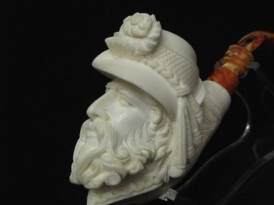 Cavalier Feather hat block Meerschaum Pipe smoking Gift sea foam Big Bowl 8301