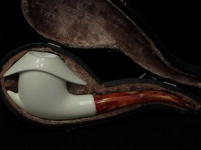 Smooth Abstract block Meerschaum Pipe Tobacco smoking Gift Case hand made 7764