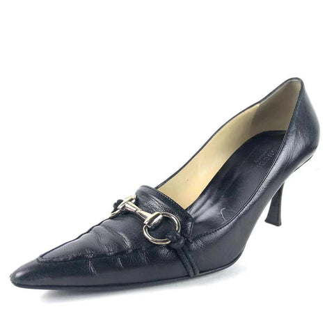 0d651837eed Women s Gucci Horsebit Black Leather Pointy Toe Pumps Size 8.5