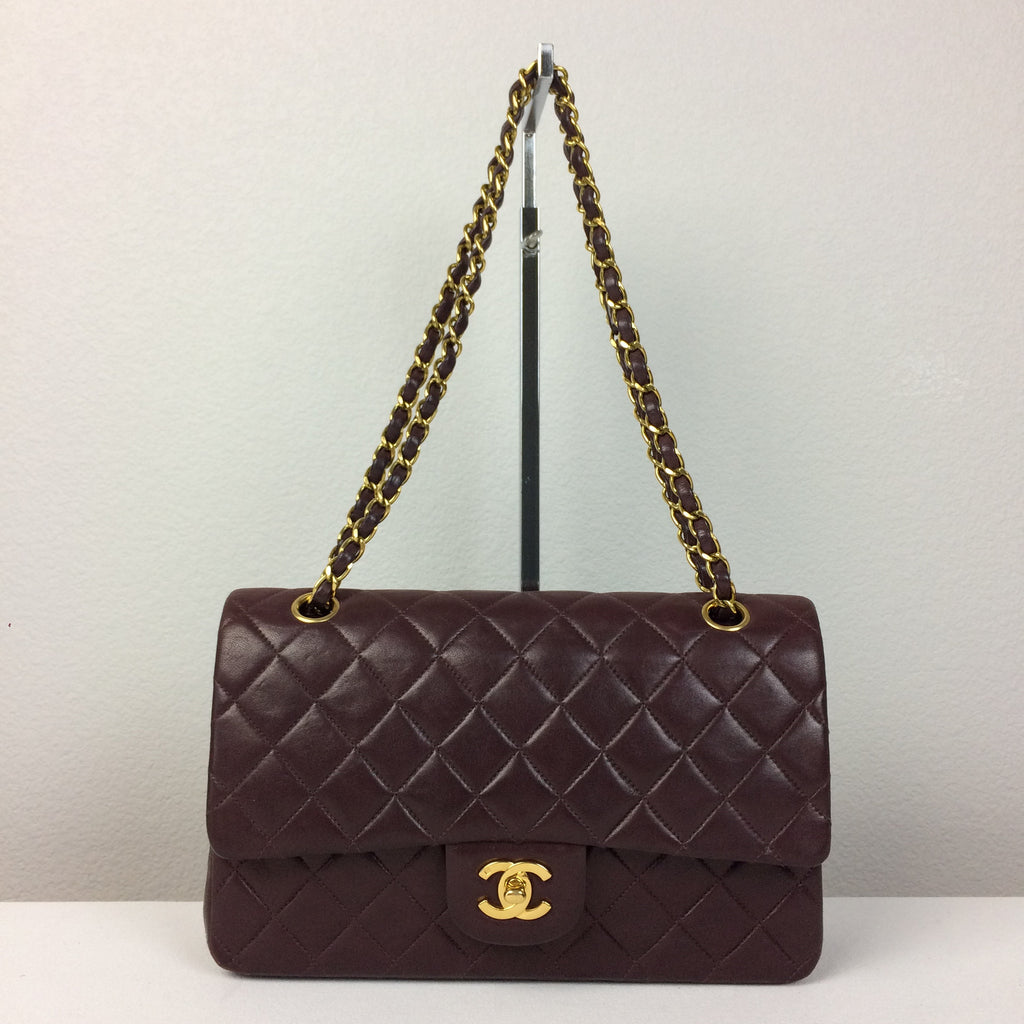 7f0097f13e2b56 Chanel Burgundy Lambskin Double Flap Shoulder Bag Made in France MSRP – RE/SHOP  BOUTIQUE