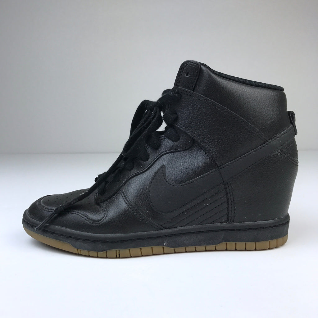 cozy fresh 31a3b 7c0f6 ... authentic womens nike dunk sky hi wedge black leather sneaker gum soles size  7 msrp 220 ...