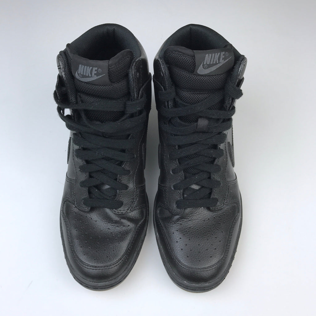... Womens  Nike Dunk Sky Hi Wedge Black Leather Sneaker Gum Soles Size 7  MSRP ... 8d89e25ad