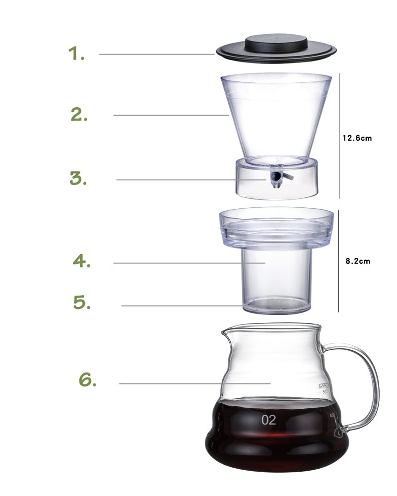 500ml Cold Brew Coffee Maker with Reusable Stainless Steel Filter Thick Glass Percolators cafetera expreso Coffee Iced Drip Pot