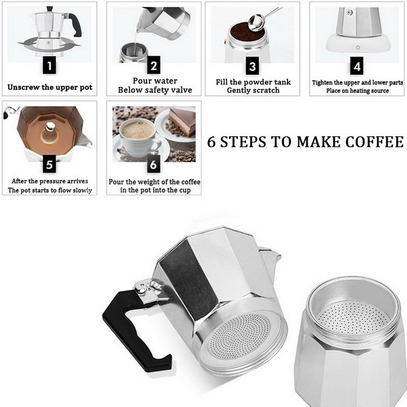 Classic Aluminum Percolator Espresso Coffee Maker