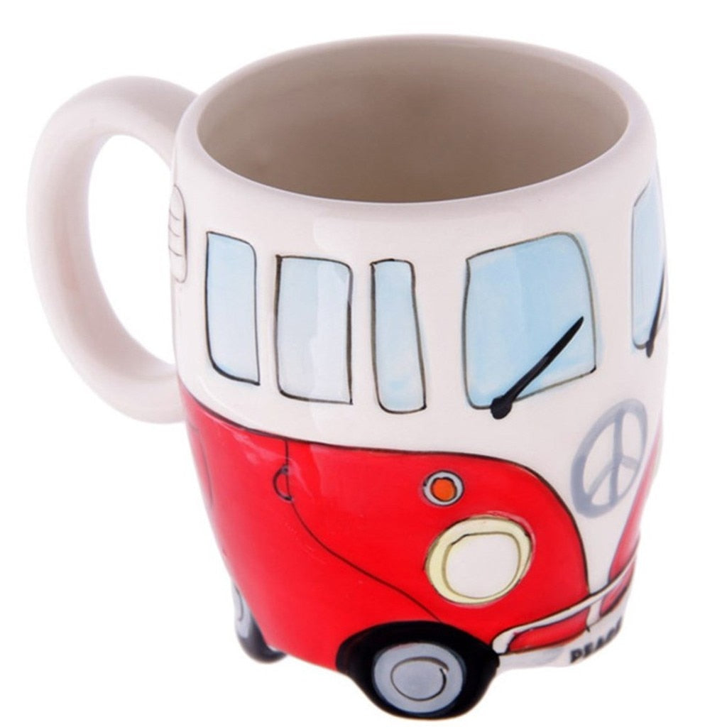 Hand-painted Ceramic Hippie Bus Coffee Mug