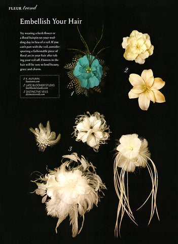 Bride and Bloom Magazine Contents with our Hair Flowers