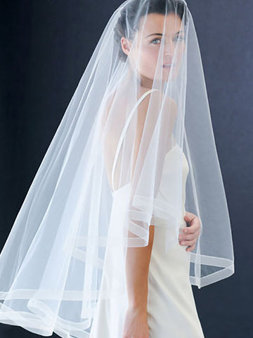 Circular Veil with Sheer Ribbon Edge - Distinctive Veils & Accessories