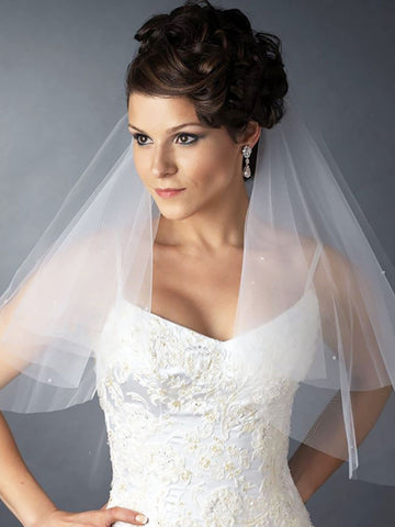 Cut Edge Circular Veil with Rhinestones - Distinctive Veils & Accessories