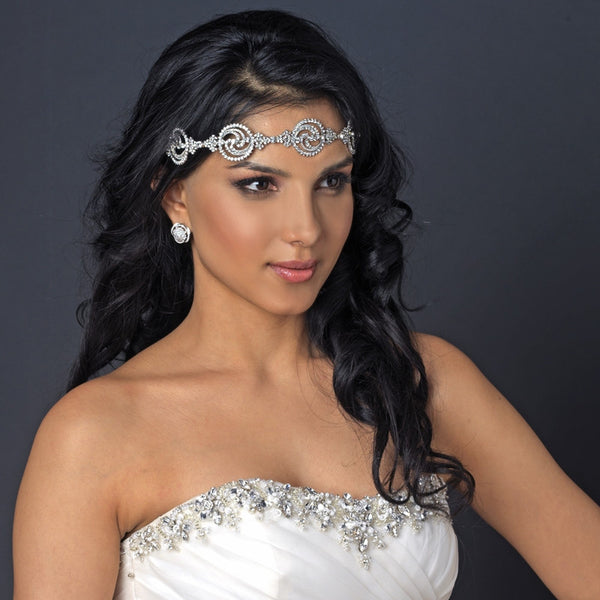 Rhinestone Swirls Wedding Headband - Distinctive Veils & Accessories