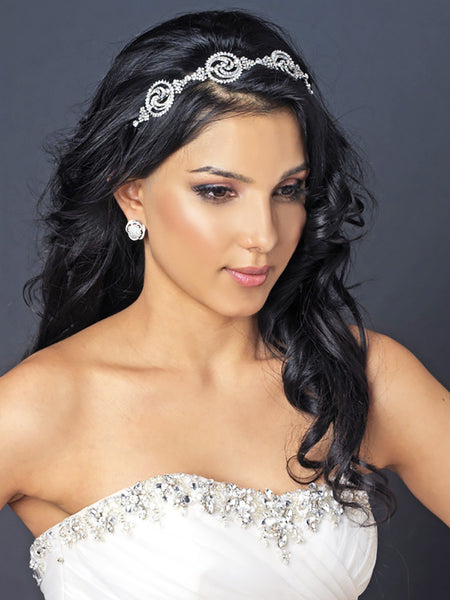 Modern Rhinestone Swirls Wedding Headband - Distinctive Veils & Accessories