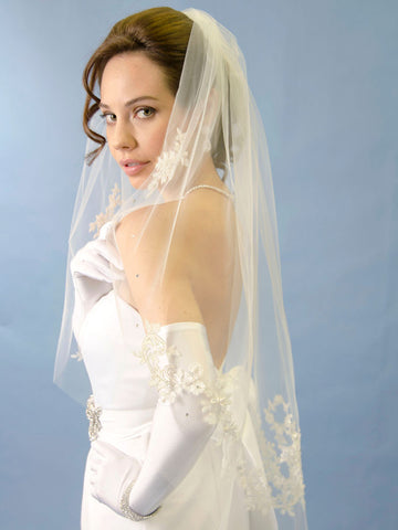 Lace Applique Wedding Veil with Starburst Flowers - Distinctive Veils & Accessories