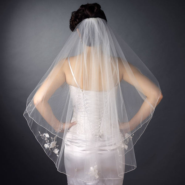 Embroidered Veil with Beaded Organza Flowers