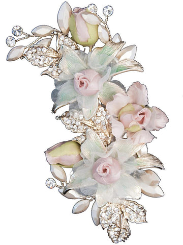 Gold Bridal Clip with Pastel Flowers and