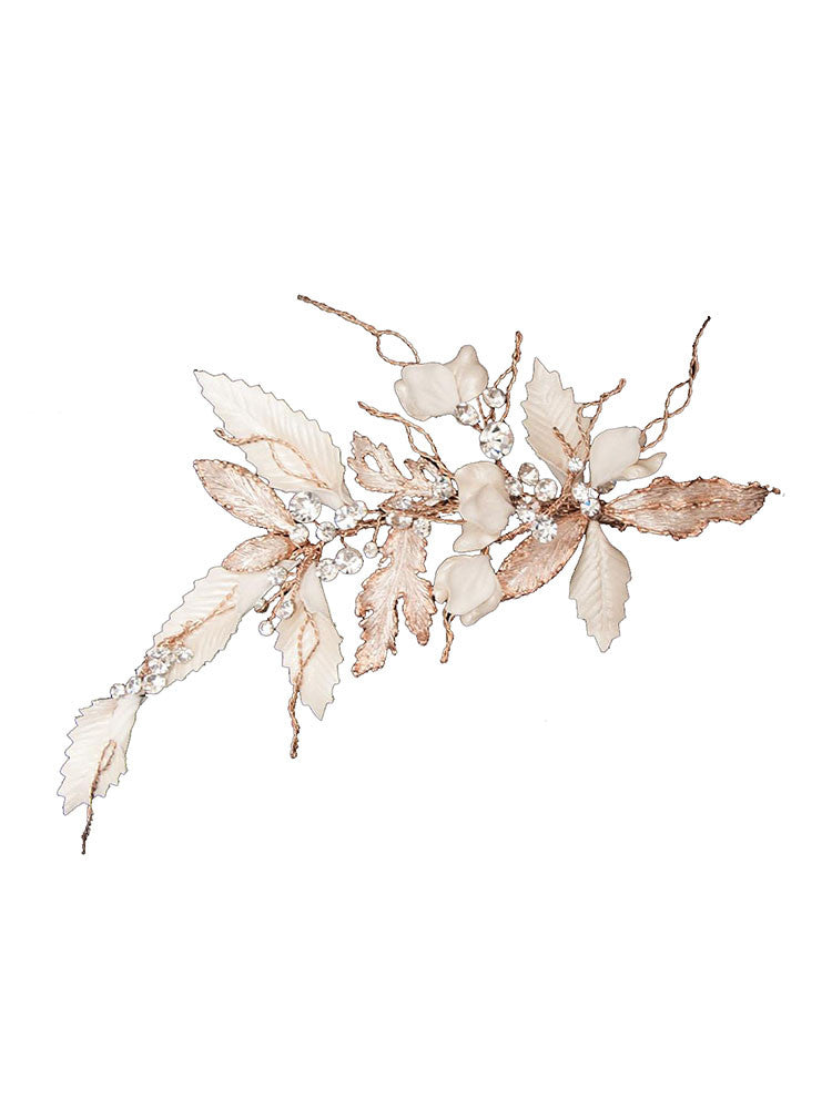 Bridal Clip with Rose-Gold Leaves