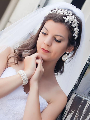 Bridal Headband with Matte Silver Frosted Leaves