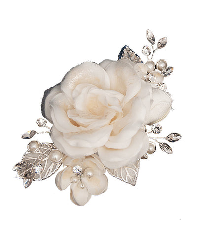 Ivory Rose Hair Clip - Distinctive Veils & Accessories