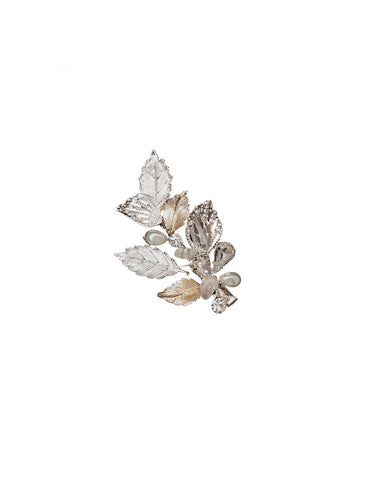 Bridal Hair Clip with Metal Leaf Motif - Distinctive Veils & Accessories