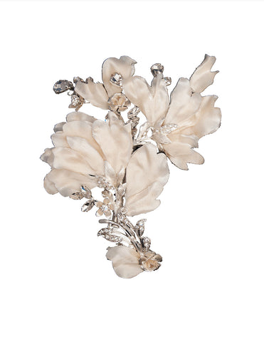 Champagne Bridal Hair Flower Clip - Distinctive Veils & Accessories