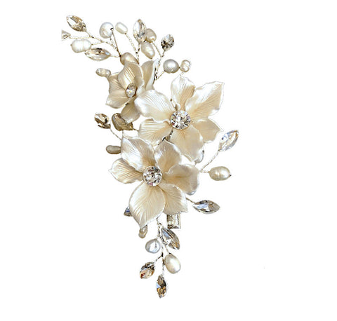 Champagne Flower Bridal Hair Clip - Distinctive Veils & Accessories