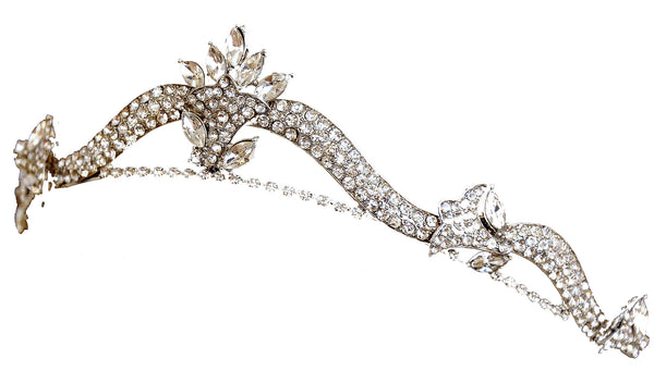 Wedding Tiara with Ribbon of Pavee Stones