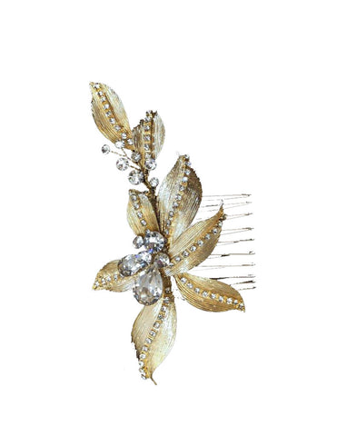 Light Gold Leafy Bridal Comb - Distinctive Veils & Accessories