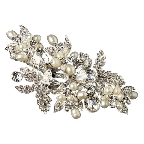 Freshwater Pearl and Leafy Rhinestone Bridal Clip - Distinctive Veils & Accessories