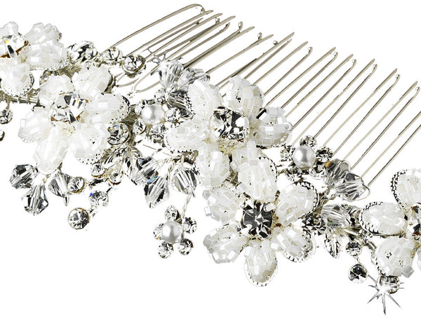 Silk White Beaded Flower and Crystal Bridal Comb