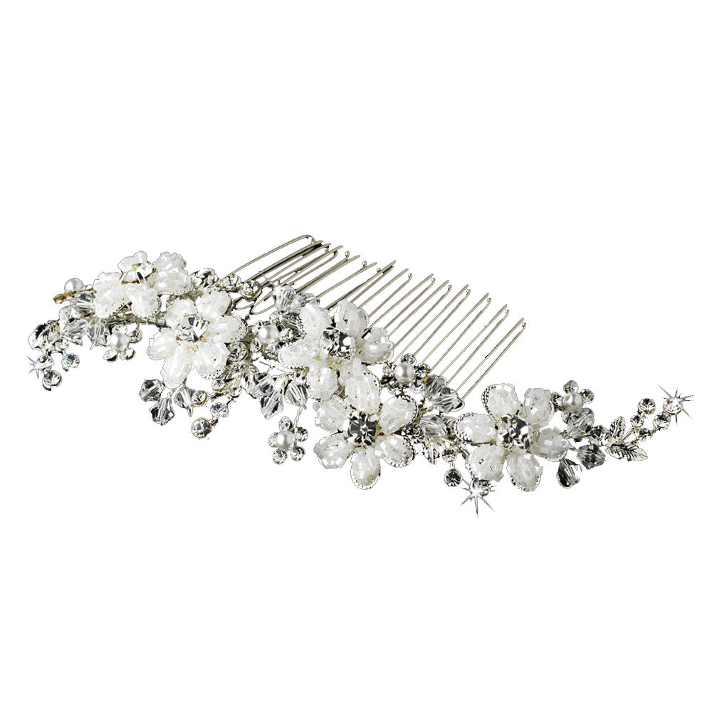 Silk White Beaded Flower and Crystal Bridal Comb - Distinctive Veils & Accessories