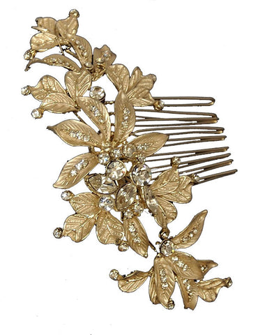 Light Gold Etched Leaf Comb - Distinctive Veils & Accessories