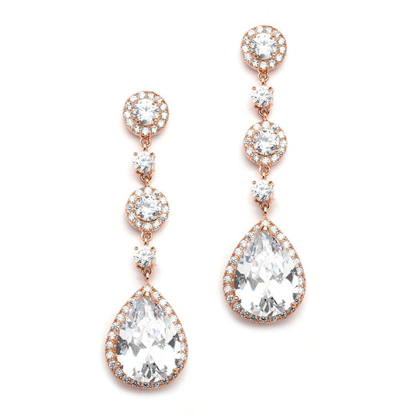Rose Gold Wedding Earrings, Drop CZ Crystals, Gold and Silver Available