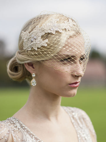 Gold Lace Bandeau Birdcage Veil - Distinctive Veils & Accessories