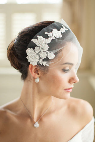Tulle Bandeau Wedding Veil with Lace - Distinctive Veils & Accessories