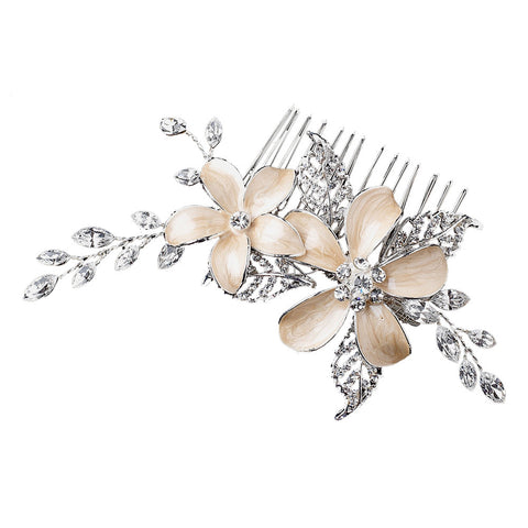 Champagne Flower Wedding Comb - Distinctive Veils & Accessories