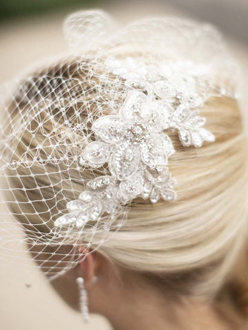Ivory Birdcage Veil with Silver Beaded Applique - Distinctive Veils & Accessories