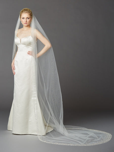 Heavily Beaded Edge Cathedral Veil - Distinctive Veils & Accessories