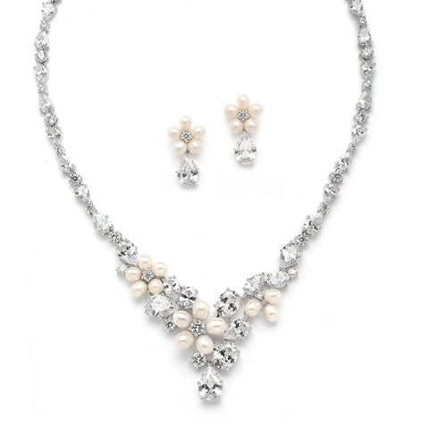 Cubic Zirconia and Freshwater Pearl Wedding Necklace Set - Distinctive Veils & Accessories