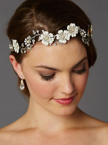 Mariell Enamel Flower Wedding Headband - Distinctive Veils & Accessories