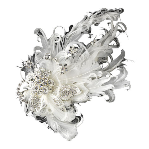 Curly Feather and Rhinestone Wedding Clip - Distinctive Veils & Accessories
