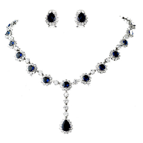 Blue Rhinestone Bridal Jewelry Set - Distinctive Veils & Accessories