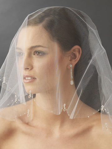 Beaded Edge Veil, Short Blusher with Crystal Drops