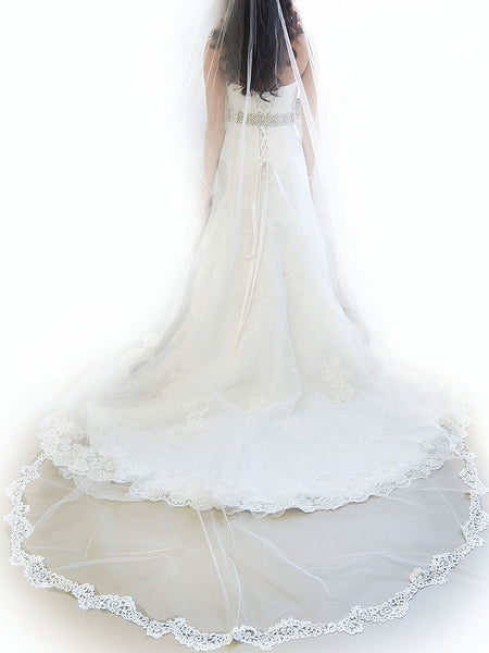 Venise Lace Cathedral Veil - Ansonia Bridal Veils, 730