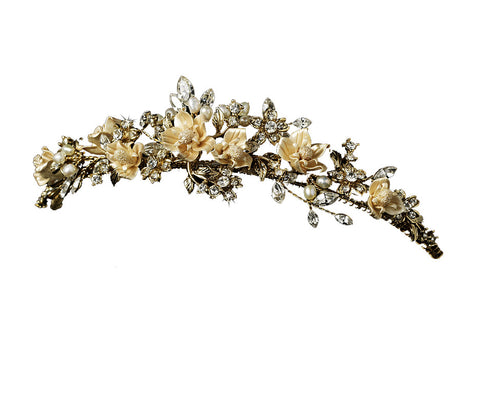 Gold Champagne Porcelain Flower Wedding Tiara - Distinctive Veils & Accessories